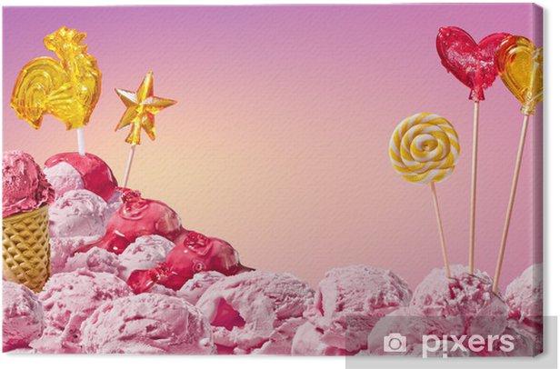 Cuadro en Lienzo Dulce paisaje mágico de helados y dulces - Temas