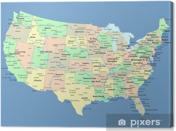 Cuadro en Lienzo EE.UU. mapa con nombres de estados y ciudades - Temas