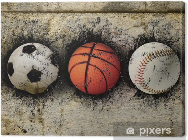 Cuadro en Lienzo El baloncesto, el béisbol y el fútbol - Baloncesto