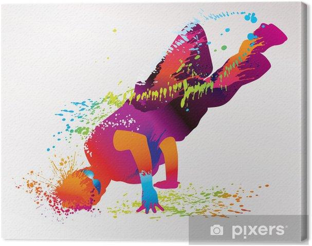 Cuadro en Lienzo El chico bailando con manchas de color y salpicaduras. Vector - Temas