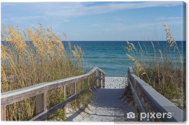 Cuadro en Lienzo El paseo marítimo con dunas y mar avena - Temas