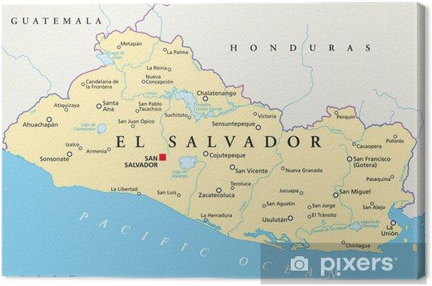 Cuadro en Lienzo El Salvador mapa (El Salvador Crónica) - Temas