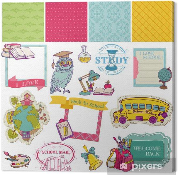 Cuadro en Lienzo Elementos del diseño del libro de recuerdos-Back to School - para el diseño y desechos - Educación