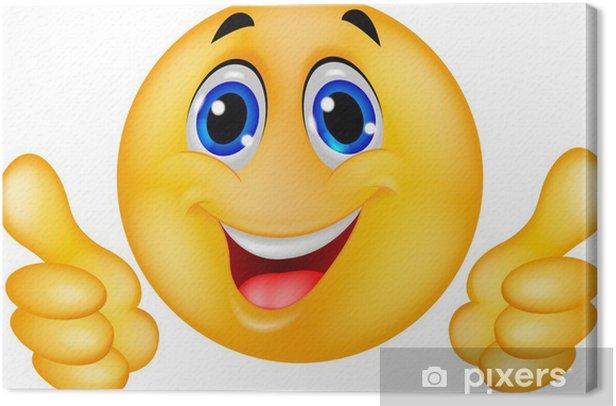 Cuadro en Lienzo Emoticon sonriente feliz de la cara - Partes del cuerpo