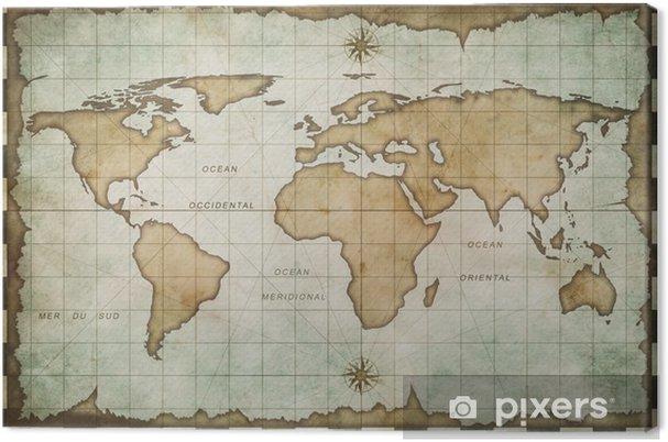 Cuadro en Lienzo Envejecido antiguo mapa del mundo -