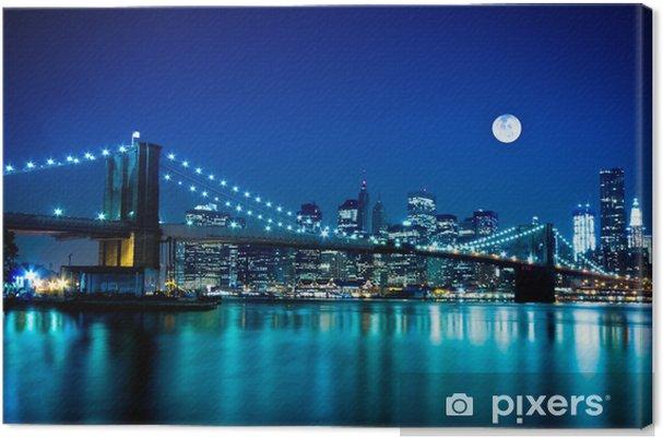 Cuadro en Lienzo Escena nocturna del puente de Brooklyn y Nueva York -