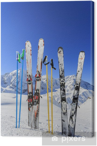 Cuadro en Lienzo Esquí, montaña y equipos de esquí en pista de esquí - Temas