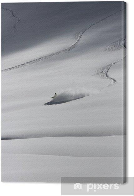 Cuadro en Lienzo Esquiador en una fuerte ventisca, freeride extrema - Eqsuí
