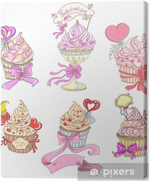 Cuadro en Lienzo Establecer Cupcakes - Celebraciones