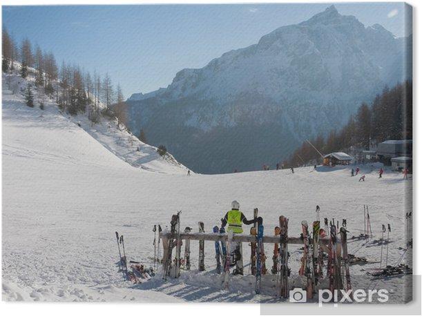 Cuadro en Lienzo Estación de esquí de Selva di Val Gardena, Italia - Vacaciones