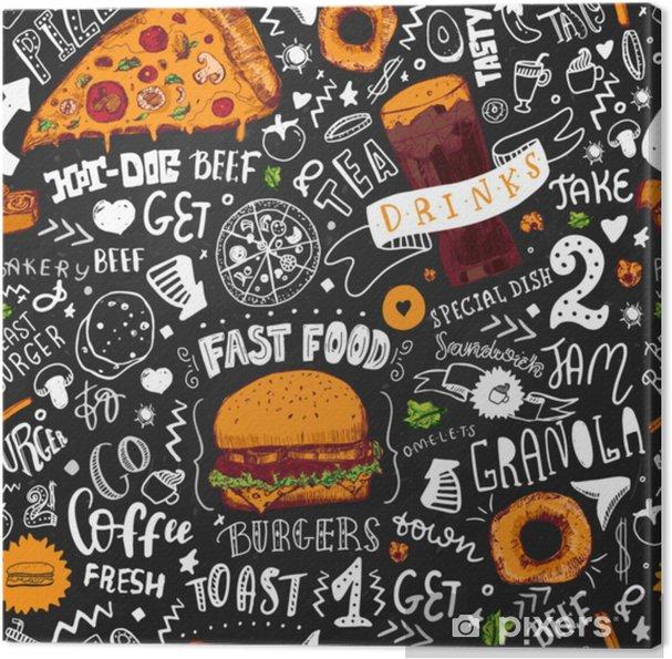 Cuadro en Lienzo Estilo inconsútil dibujado mano del garabato de los alimentos de preparación rápida con los objetos del bosquejo en tema de la cocina de los desperdicios con las letras. diseño de pizarra. ilustración vectorial - Comida