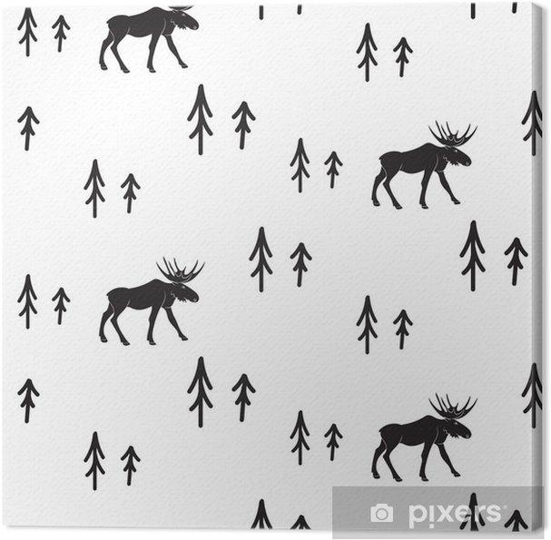 Cuadro en Lienzo Estilo simple blanco y negro sin fisuras patrón ciervos escandinavo. Ciervos y pinos modelo monocromático silueta. - Recursos gráficos