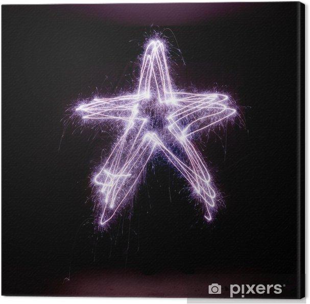 Cuadro en Lienzo Estrella de navidad hecho de luces de bengala. - Celebraciones internacionales