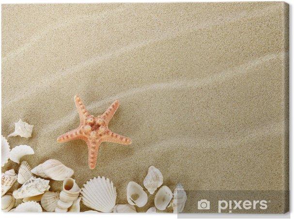 Cuadro en Lienzo Estrellas de mar y conchas en una playa de arena - Vacaciones