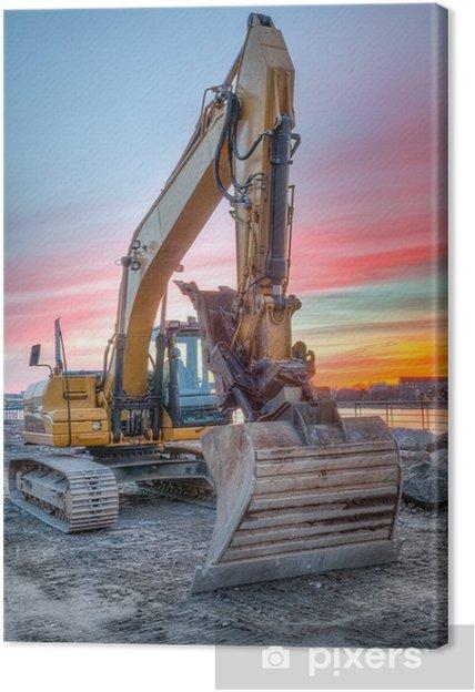 Cuadro en Lienzo Excavadora en paisaje puesta del sol - Maquinaria