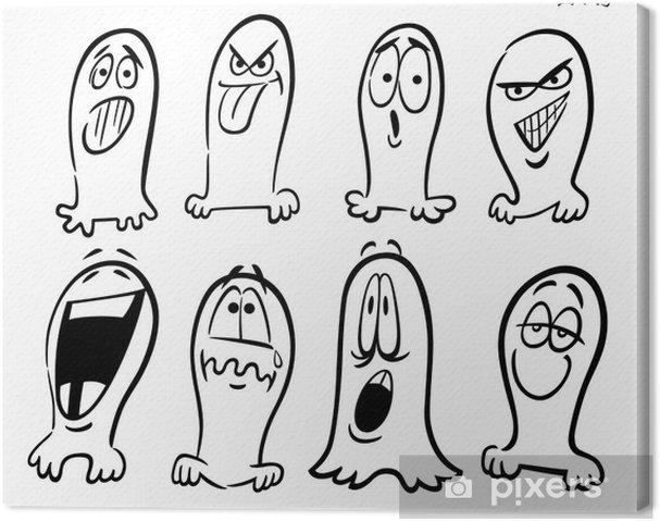 Cuadro En Lienzo Fantasmas De Halloween Para Colorear Emoticonos