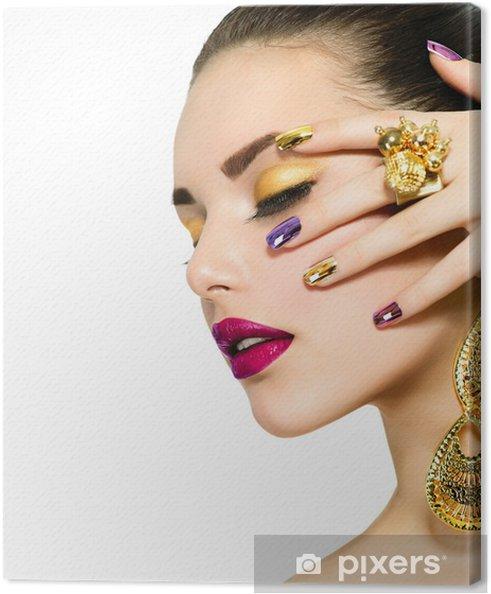 Cuadro en Lienzo Fashion Beauty. Manicura y maquillaje. Nail Art - Mujeres