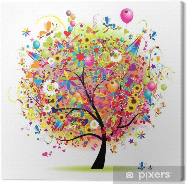 Cuadro en Lienzo Felices fiestas, divertido árbol con globos - Vinilo para pared