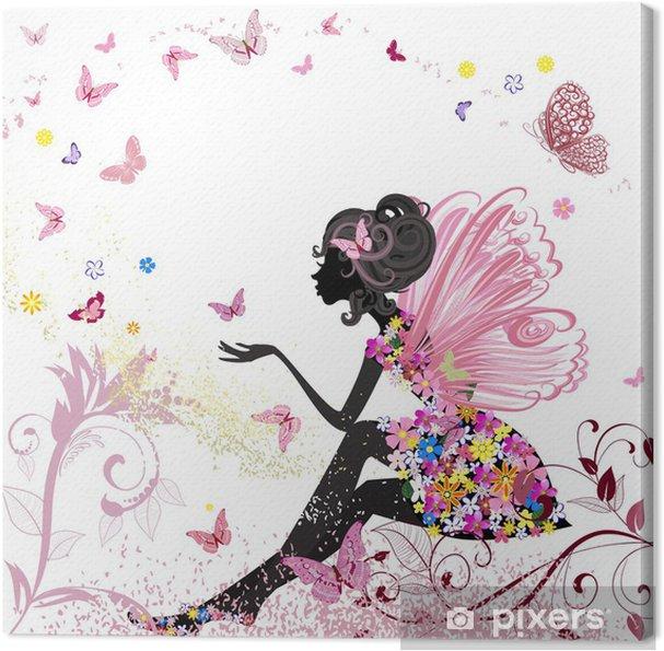Cuadro en Lienzo Flor de hadas en el entorno de las mariposas - Estilos
