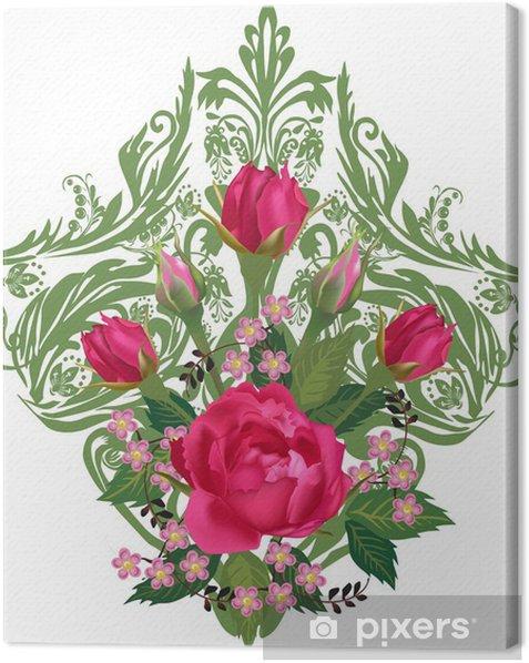 Cuadro en Lienzo Flores color de rosa en la decoración ornamental verde sobre fondo blanco - Flores