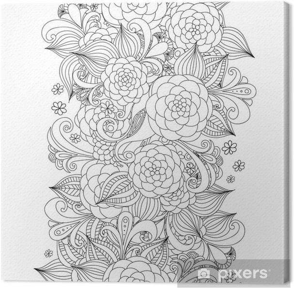 Cuadro en Lienzo Flores de bosquejo del vector de la frontera sin ...