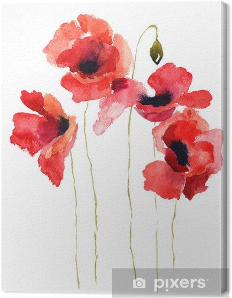 Cuadro en Lienzo Flores de la amapola estilizada ilustración - Temas