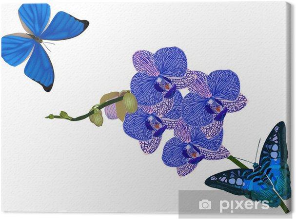 Cuadro En Lienzo Flores De Las Orquideas Azules Y Mariposas En