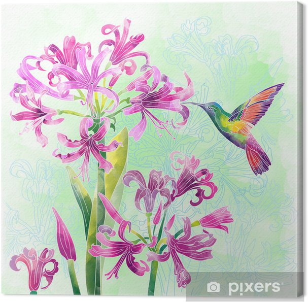 Cuadro en Lienzo Flores exóticas y aves - Flores