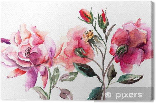 Cuadro En Lienzo Flores Rosas Hermosas Pintura Acuarela Pixers