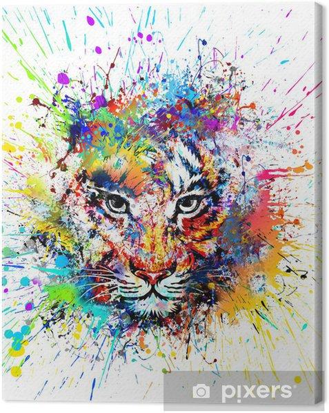 Cuadro en Lienzo Fondo brillante con el tigre - Sensaciones y emociones