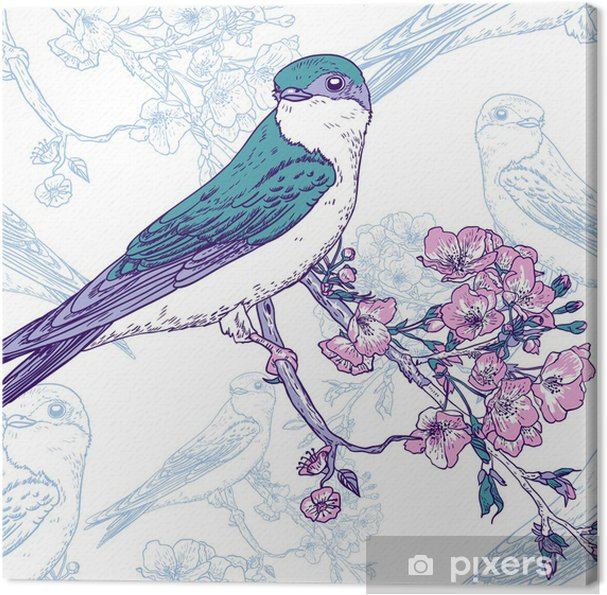 Cuadro en Lienzo Fondo de cerezo de primavera con los pájaros ...