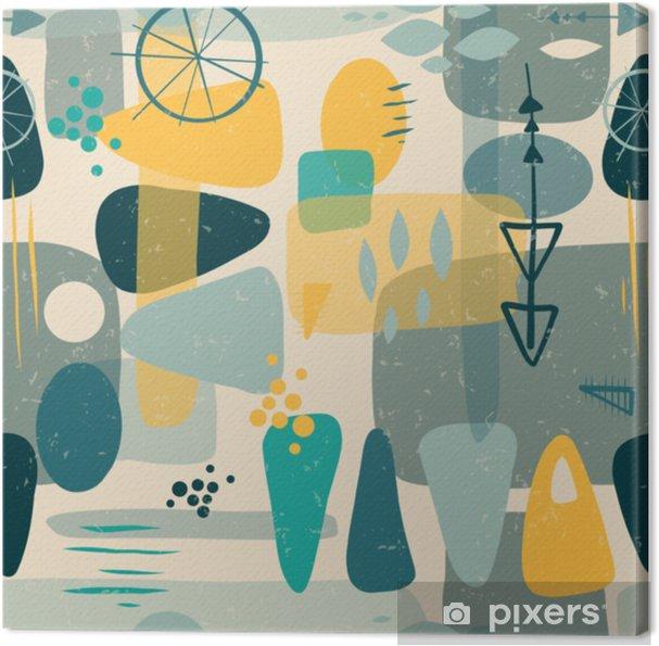 Cuadro en Lienzo Fondo de vector transparente abstracta de formas de medio siglo. Impresión de los años cincuenta. Formas retro inspiradas cuadrados, rectángulos, gotas y triángulos en azul, amarillo, gris sobre beige. impresión vintage apenado. cincuenta - Recursos gráficos