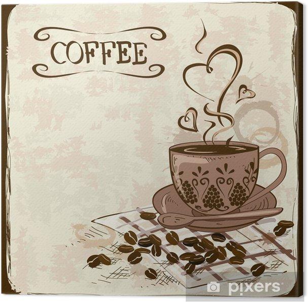 Cuadro en Lienzo Fondo del café con la taza - Para cafetería