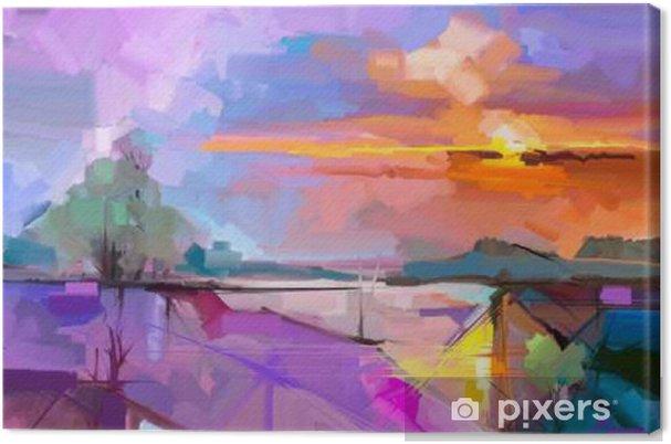 Cuadro en Lienzo Fondo del paisaje de la pintura al óleo abstracta. Obras de arte moderno pintura al óleo del paisaje al aire libre. abstracta de semi-árbol, colina con la luz del sol (puesta del sol), de color amarillo vivo - cielo púrpura. Belleza de la naturaleza de fondo - Hobbies y entretenimiento