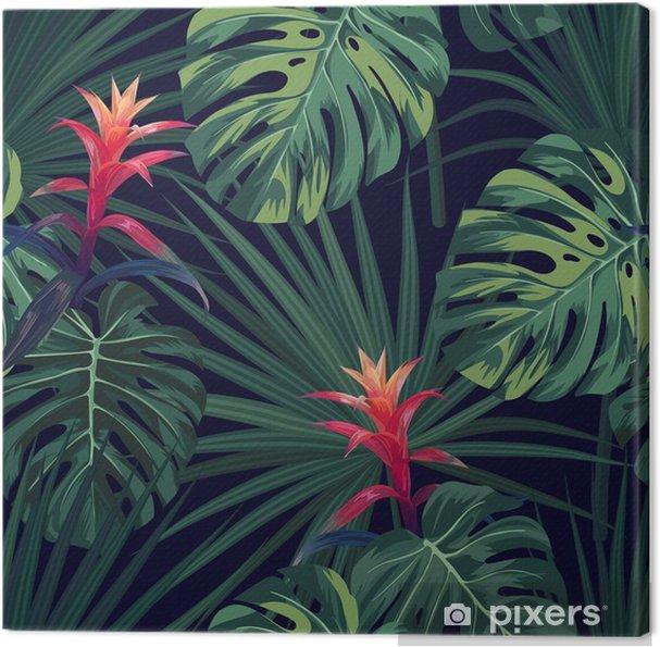 Cuadro En Lienzo Fondo Tropical Exotico Con Plantas Y Flores