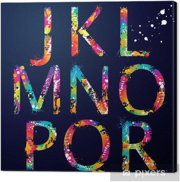 Cuadro en Lienzo Font - Colorful letras con gotas y salpicaduras de J a R - Temas