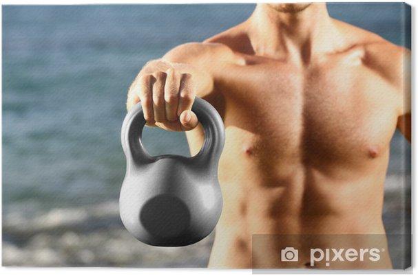 Cuadro en Lienzo Formación Crossfit hombre de fitness con pesas rusas - Deportes individuales