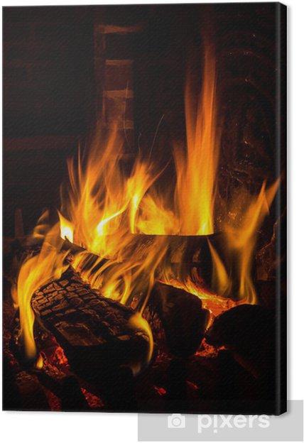 Cuadro en Lienzo Fuego en una chimenea - Temas