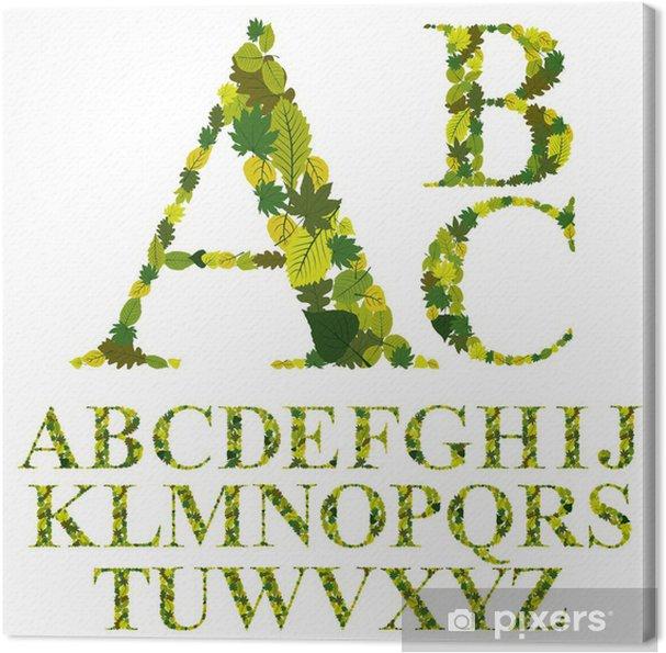 Cuadro en Lienzo Fuentes hecho con las hojas, las letras del ...