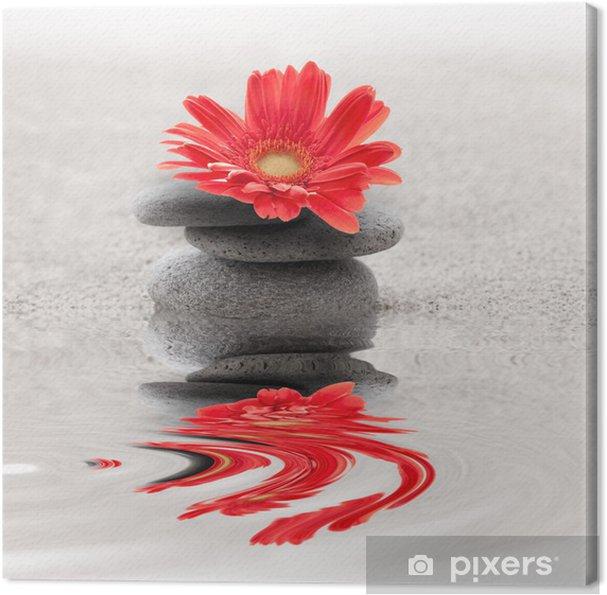 Cuadro en Lienzo Galets et reflet gerbera zen - Para SPA y Wellness