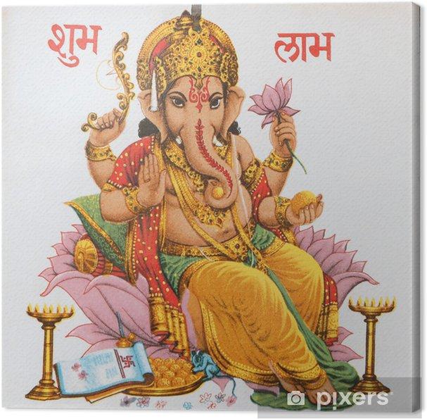 Cuadro en Lienzo Ganesha sentado en flor de loto, India - Estilos