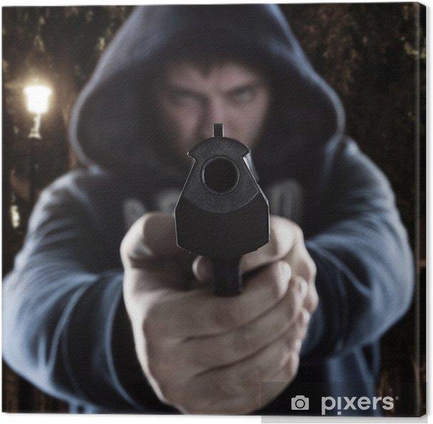 Cuadro en Lienzo Gángster con el arma - Crímenes y violencia