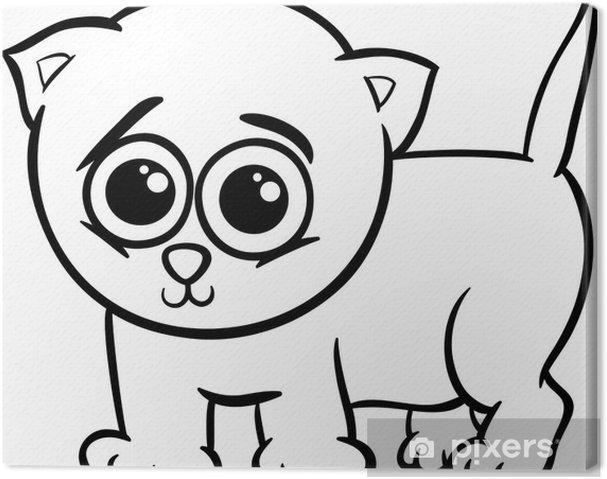 Cuadro En Lienzo Gatito Del Bebé Para Colorear De Dibujos Animados