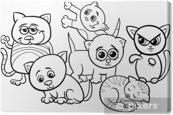 Cuadro en Lienzo Gatitos lindos para colorear de dibujos animados ...