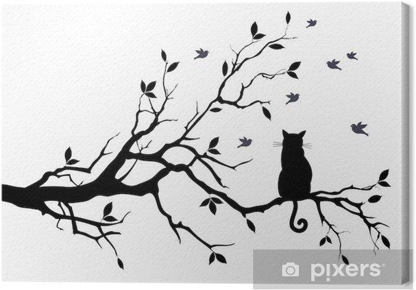 Cuadro en Lienzo Gato en un árbol con los pájaros, vector - la ciencia y la naturaleza