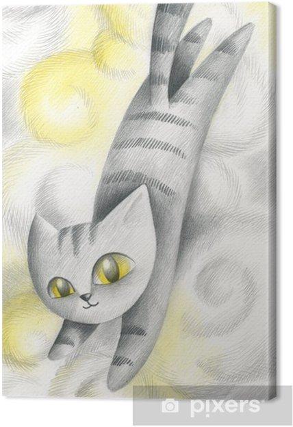 Cuadro en Lienzo Gato saltando en las nubes - Mamíferos