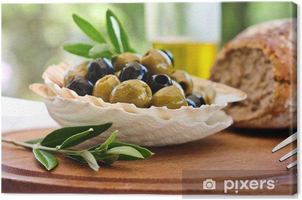 Cuadro en Lienzo Gedeckter tisch - oliven und brot - Aceitunas