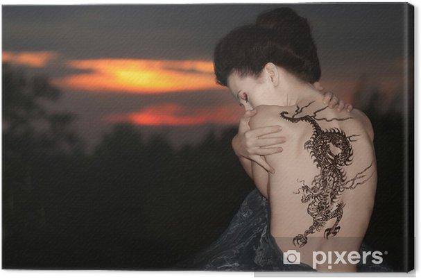 Cuadro en Lienzo Geisha con el tatuaje del dragón - Tatuajes