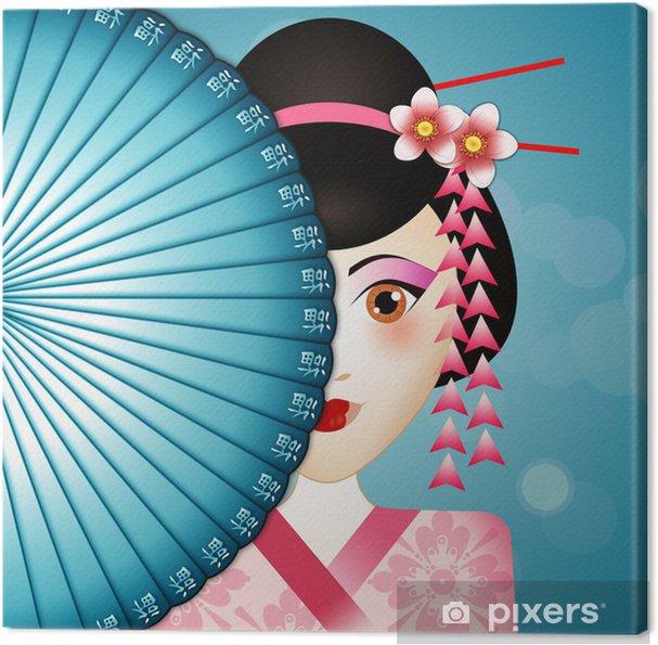 Cuadro en Lienzo Geisha con el ventilador - Asia
