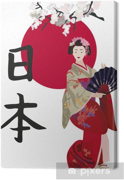 Cuadro en Lienzo Geisha y Kanji - Estilos